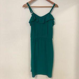 Silk green adjustable strap elastic waist dress